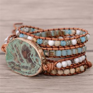 Bohemian Bracelet Leather Wrap Beaded