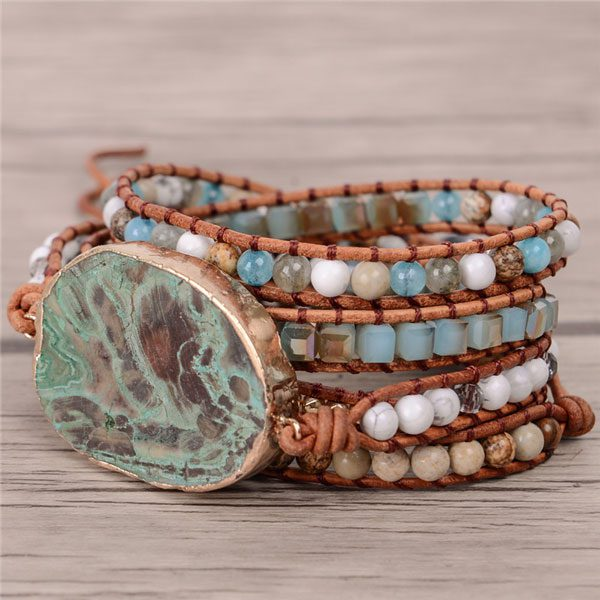 Bohemian Bracelet Leather Wrap Beaded