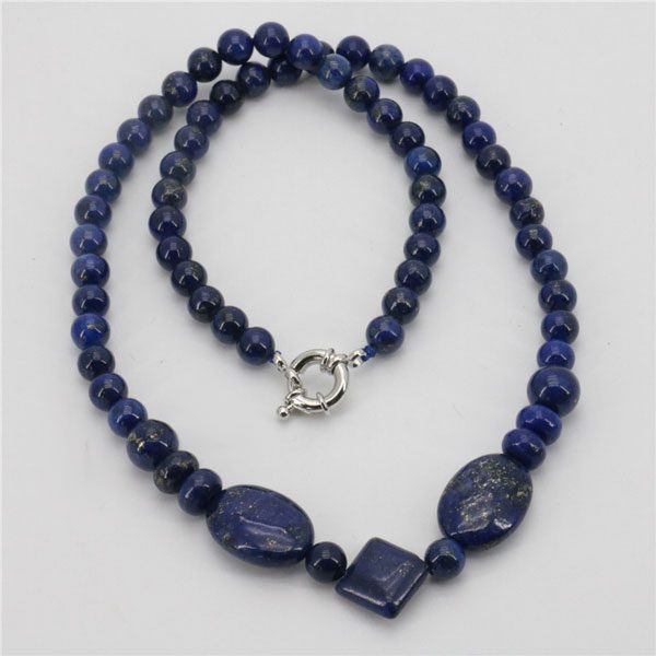 Classic Egyptian Lapis Lazuli Stone Chain Beads Necklace