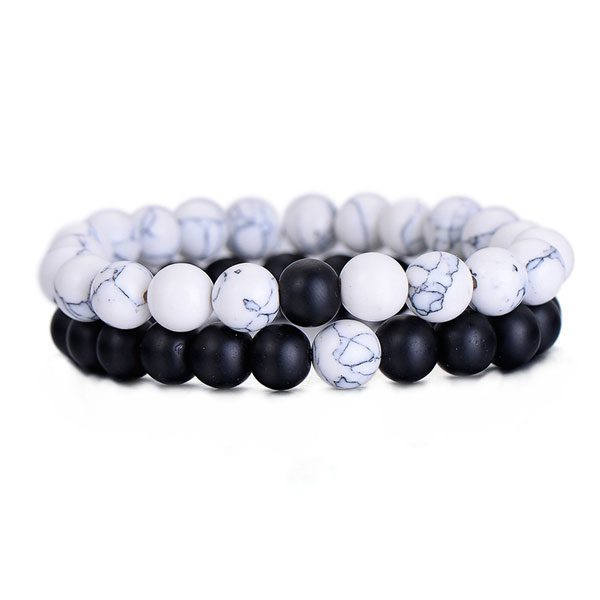 Distant Couples Bracelet – Classic Natural Stone Bracelet-Black White