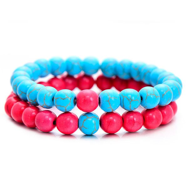 Distant Couples Bracelet – Classic Natural Stone Bracelet-Blue Red