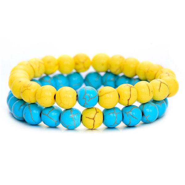 Distant Couples Bracelet – Classic Natural Stone Bracelet-Blue Yellow