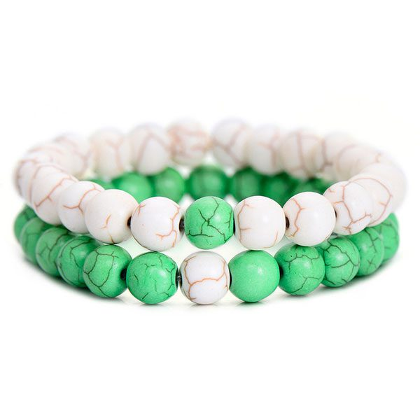 Distant Couples Bracelet – Classic Natural Stone Bracelet-Green White