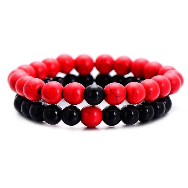 Distant Couples Bracelet – Classic Natural Stone Bracelet-Red Black