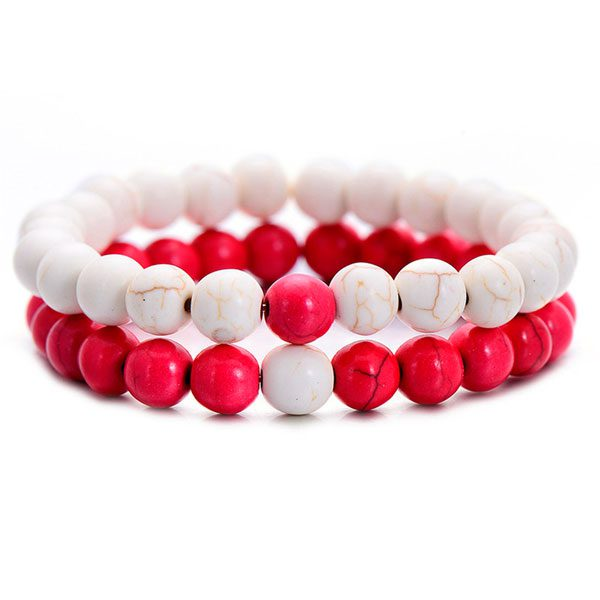 Distant Couples Bracelet – Classic Natural Stone Bracelet-Red White