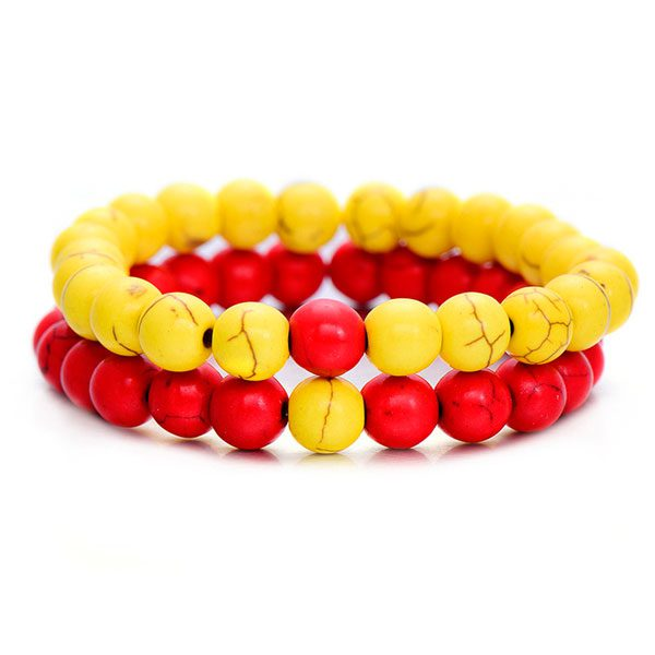 Distant Couples Bracelet – Classic Natural Stone Bracelet-Red Yellow