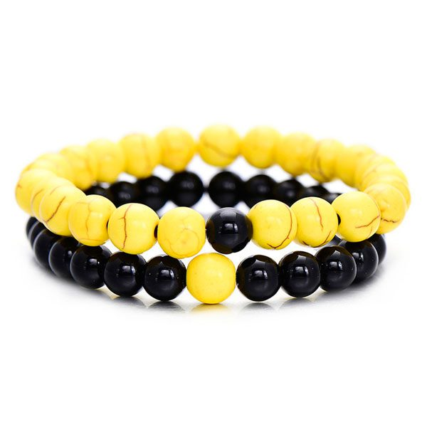 Distant Couples Bracelet – Classic Natural Stone Bracelet Yellow Black