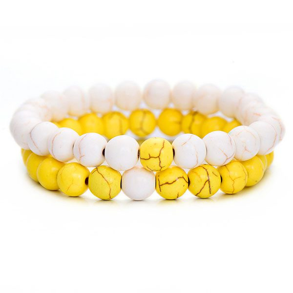 Distant Couples Bracelet – Classic Natural Stone Bracelet - Yellow White