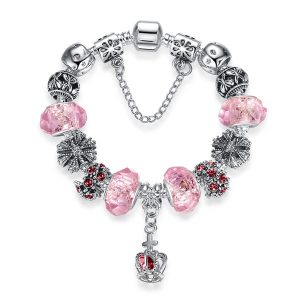 European Fashion Charm Bracelet With Murano Glass Beads