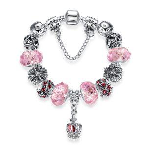 European Fashion Charm Bracelet With Murano Glass Beads