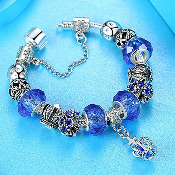 European Fashion Charm Bracelet With Murano Glass Beads-Blue