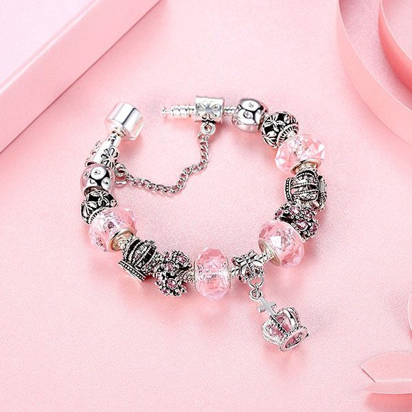 European Fashion Charm Bracelet With Murano Glass Beads-Rose