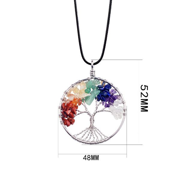 Natural Rainbow Life tree Yoga Treatment Necklace Pendant