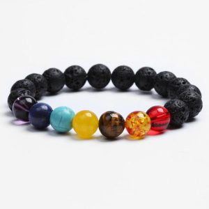 6 Chakra Bracelet Unisex – Black Lava Stone And Natural Stone