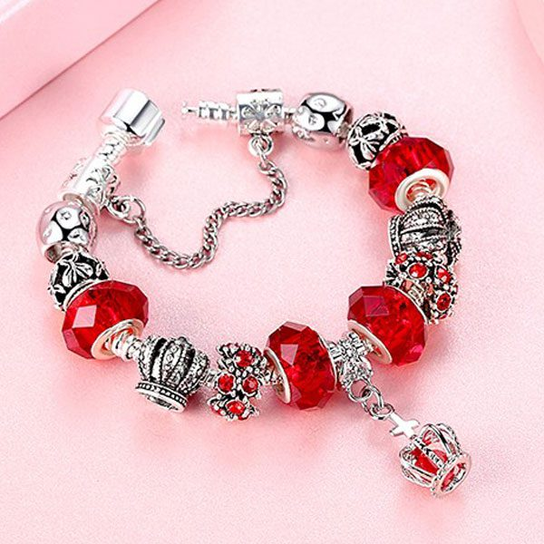 European Fashion Charm Bracelet With Murano Glass Beads-Red