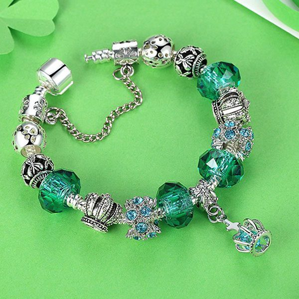 European Fashion Charm Bracelet With Murano Glass Beads-Green