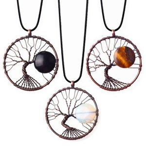 Tree Of Life Retro Moon Stone Copper Pendant Necklace