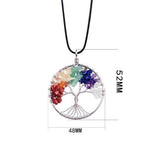 Natural Rainbow Life tree Yoga Treatment Pendant
