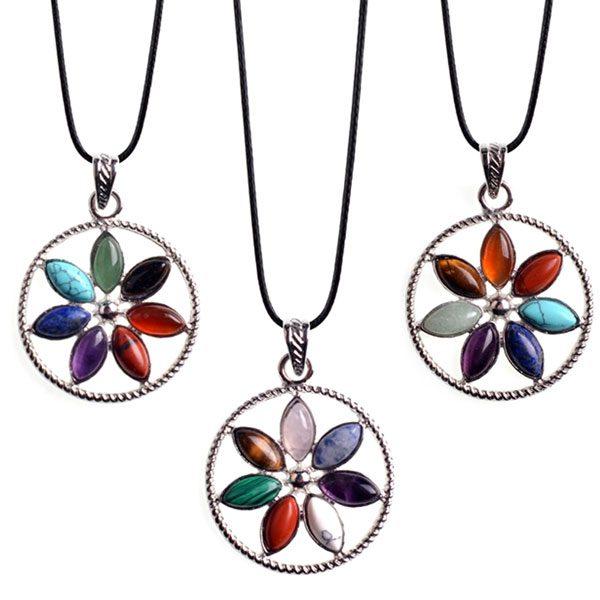 Natural Stone Seven Chakra Healing Necklace
