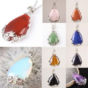 Natural Stone Teardrop Inlaid Alloy Flower Pendant For Necklace
